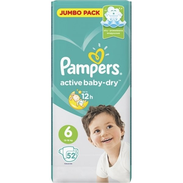 Pampers Active Baby подгузники №6 (13-18 кг),52 шт