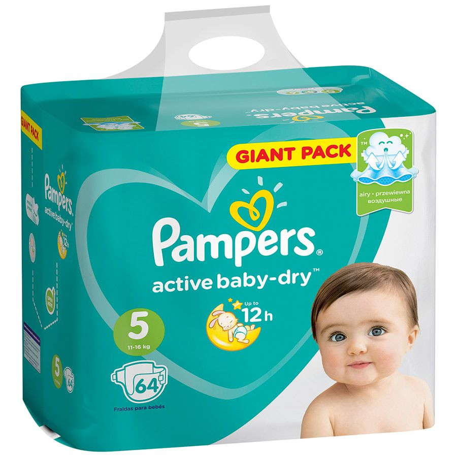 Pampers Active Baby подгузники №5 (11-16 кг), 64 шт.