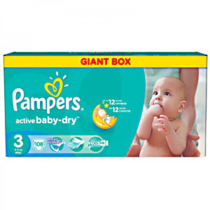 Pampers Active Baby подгузники (4-9 кг), 108 шт.