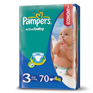 Pampers Active Baby подгузники (4-9 кг), 70 шт.