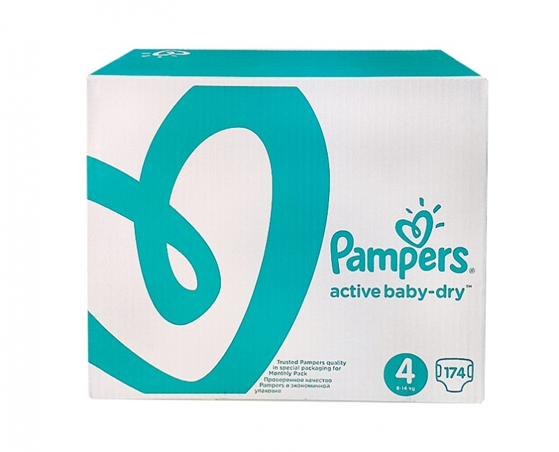 Pampers Active Baby подгузники (8-14кг), 174 шт.