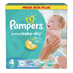 Pampers Active Baby подгузники (8-14 кг), 147 шт.