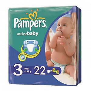 Pampers Active Baby подгузники (4-9 кг), 22 шт.